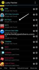 lucky patcher - remove ads - app list